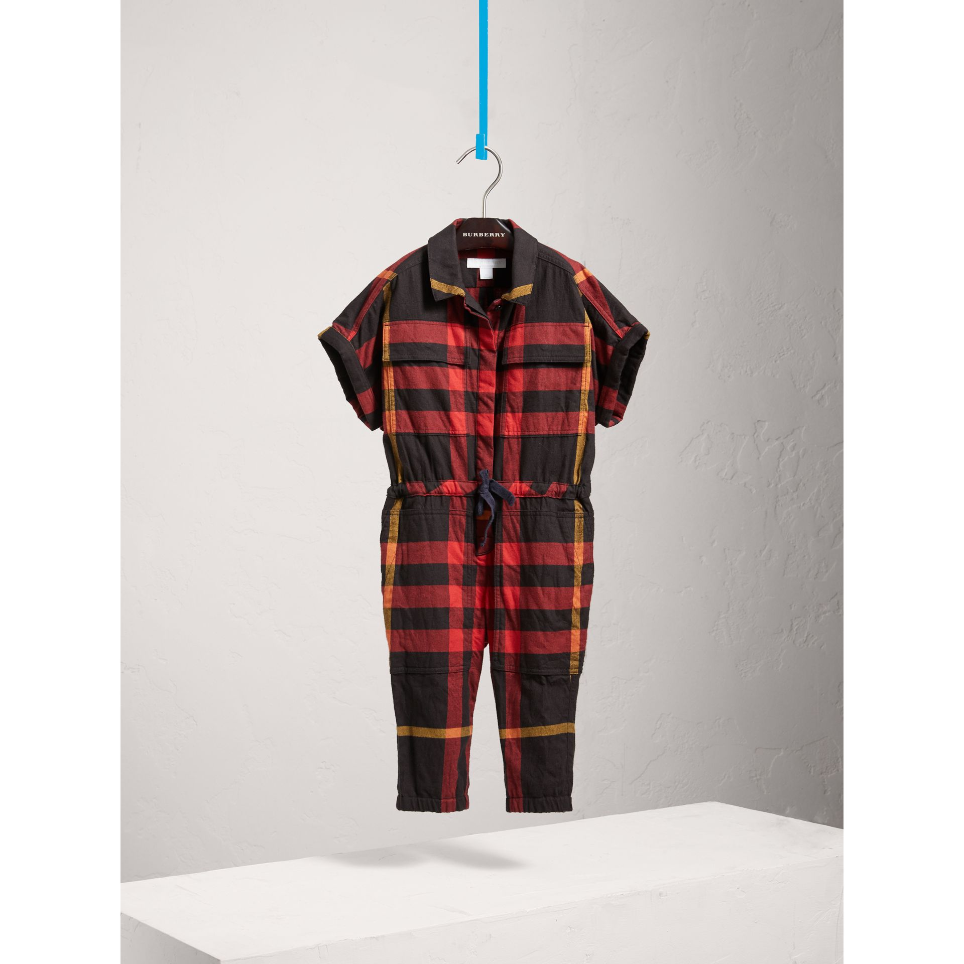 Short-sleeve Check Cotton Flannel Jumpsuit in Black - Girl | Burberry Australia - gallery image 2