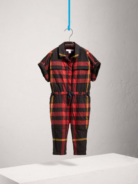 Short-sleeve Check Cotton Flannel Jumpsuit in Black - Girl | Burberry Australia - cell image 2