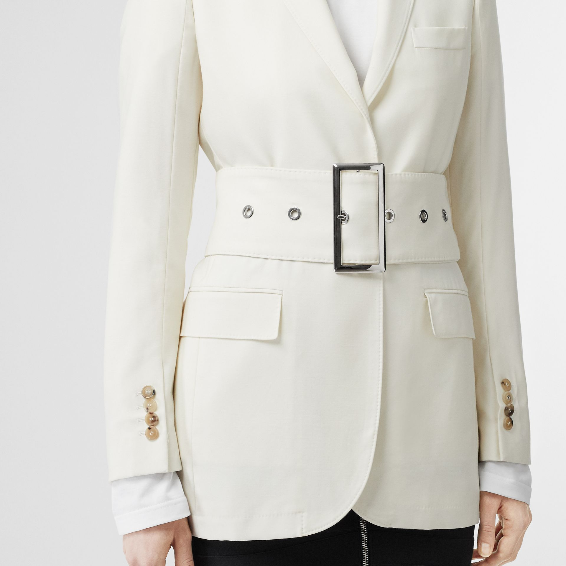 Wool Belted Blazer in White - Women | Burberry Singapore - gallery image 1
