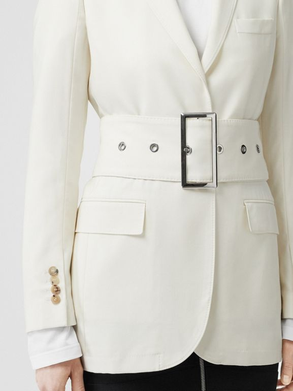 Wool Belted Blazer in White - Women | Burberry - cell image 1