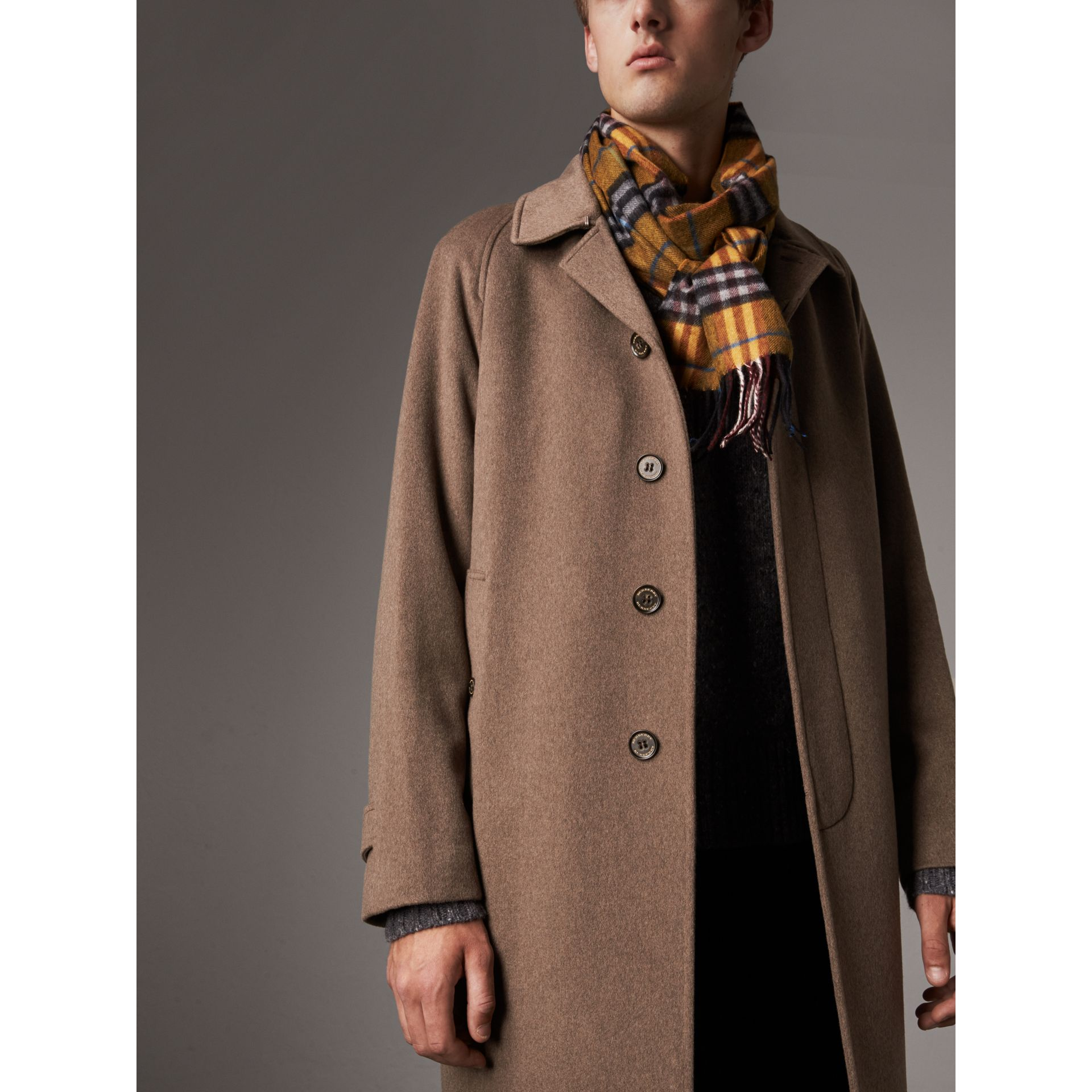 Cashmere Car Coat in Deep Taupe Melange - Men | Burberry Canada - gallery image 6