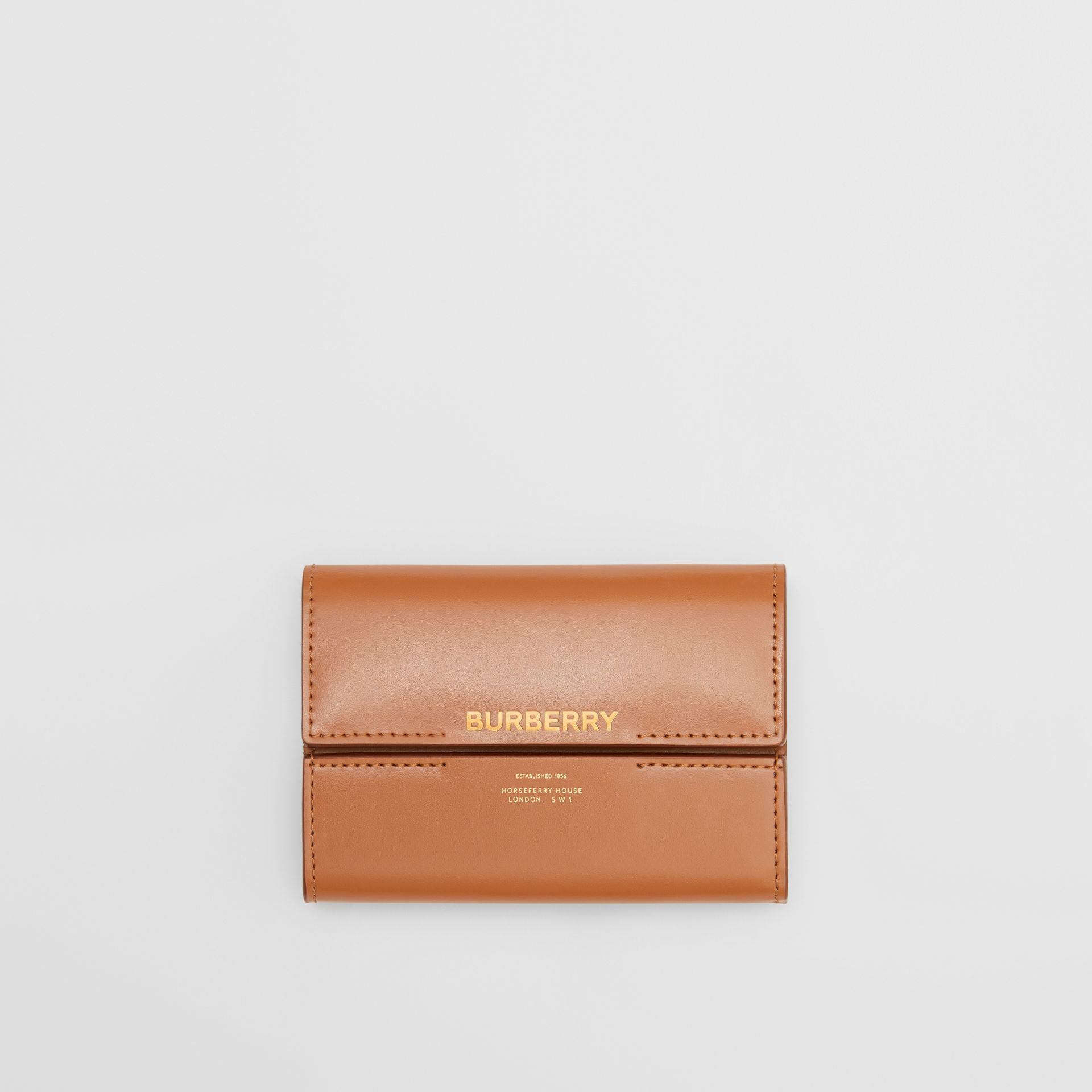 Horseferry Print Leather Folding Wallet in Nutmeg - Women | Burberry - gallery image 0