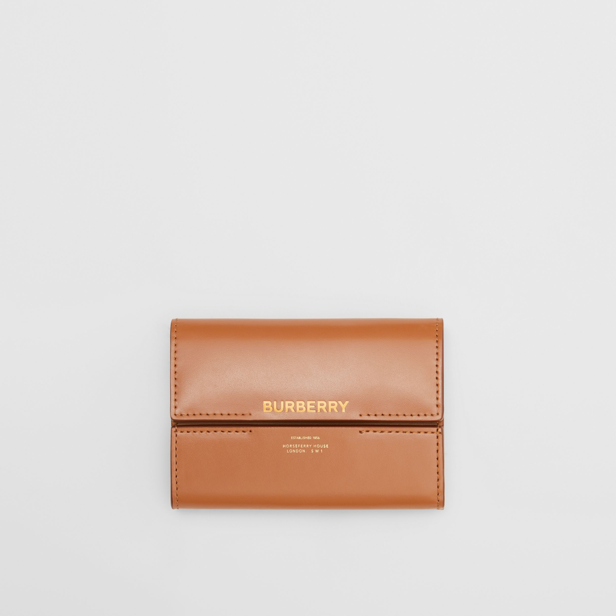 Horseferry Print Leather Folding Wallet in Nutmeg - Women | Burberry - 1
