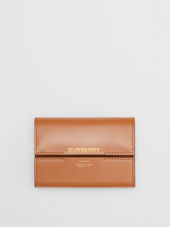 Horseferry Print Leather Folding Wallet in Nutmeg