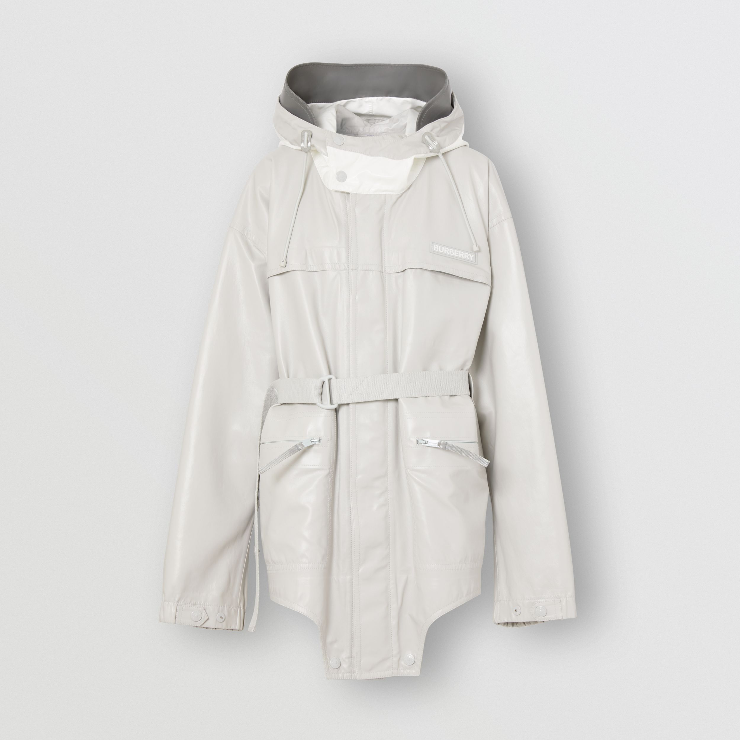 Cut-out Hem Coated Nylon Parka in Light Pebble Grey - Women | Burberry Singapore - 3