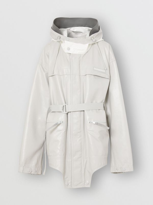 Cut-out Hem Coated Nylon Parka in Light Pebble Grey - Women | Burberry United Kingdom - cell image 2