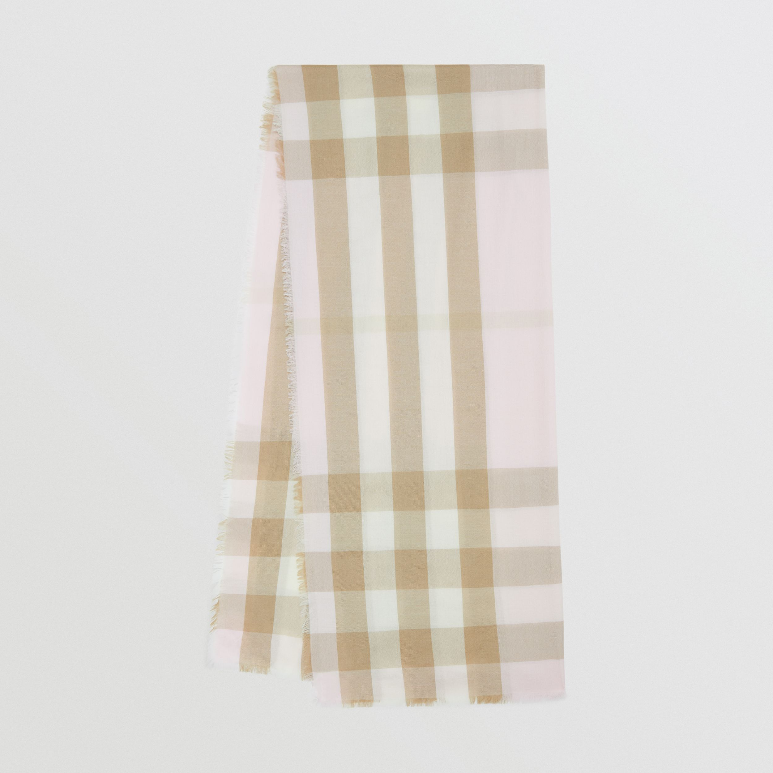 Lightweight Check Cashmere Scarf in Alabaster - Women | Burberry - 1
