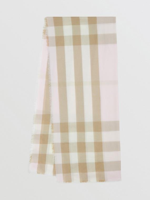 Легкий шарф из кашемира в клетку (Алебастр)
