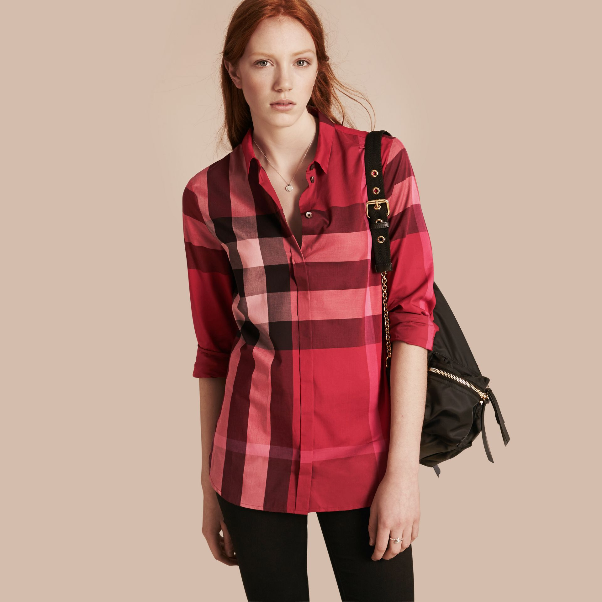 Berry red Check Cotton Shirt Berry Red - gallery image 1