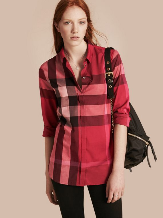 Check Cotton Shirt Berry Red