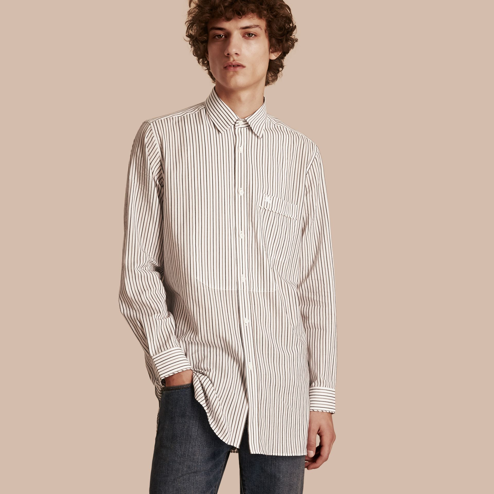 Striped Cotton Poplin Shirt - gallery image 1