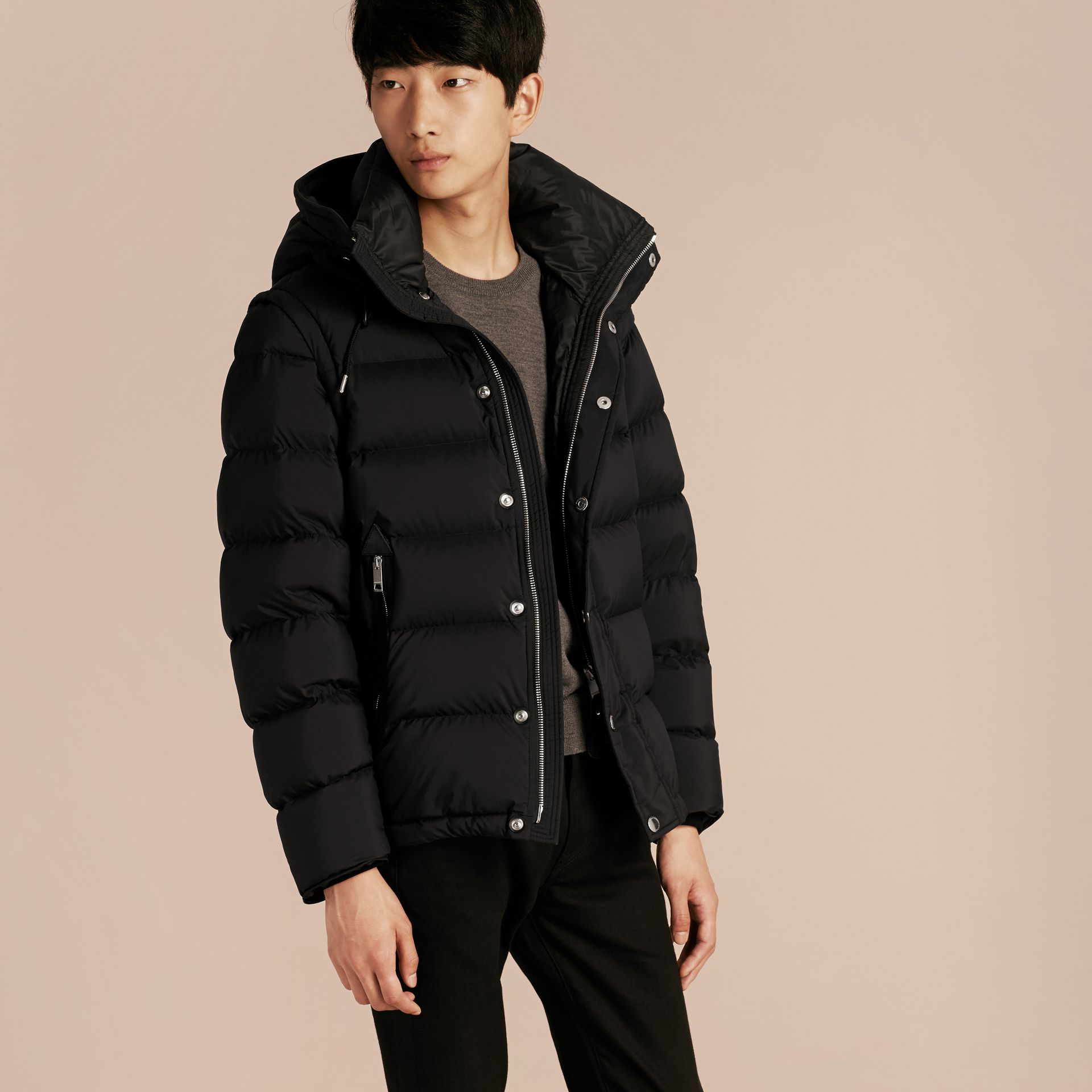 Black Down-filled Hooded Jacket with Detachable Sleeves Black - gallery image 7