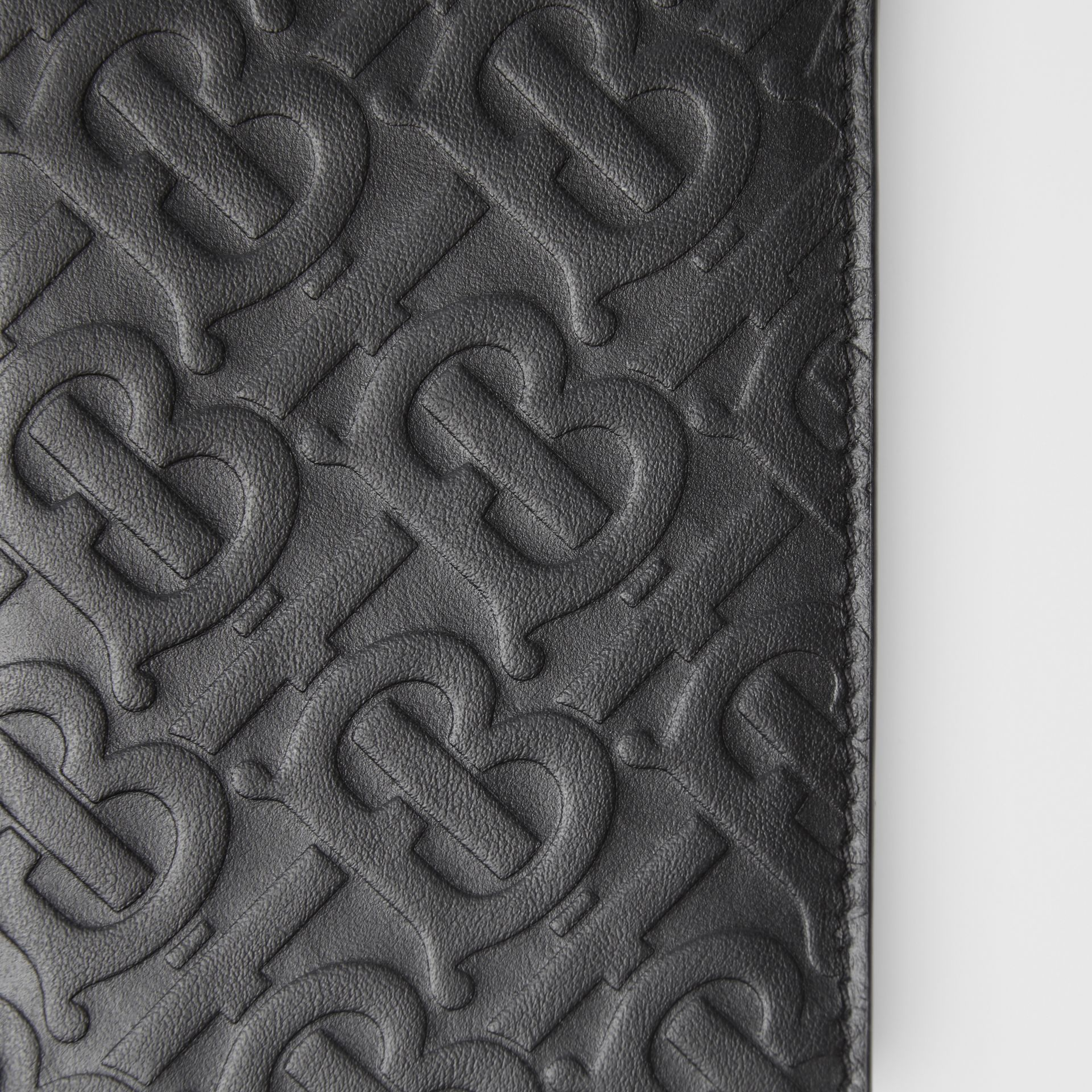 Monogram Leather Continental Wallet in Black - Men | Burberry - gallery image 1