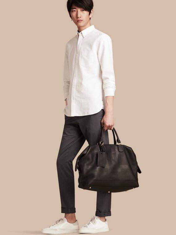 Pantalon slim en coton extensible Gris Moyen