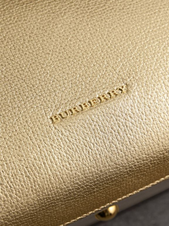 The Medium Banner in Leather and House Check in Gold - Women | Burberry - cell image 1