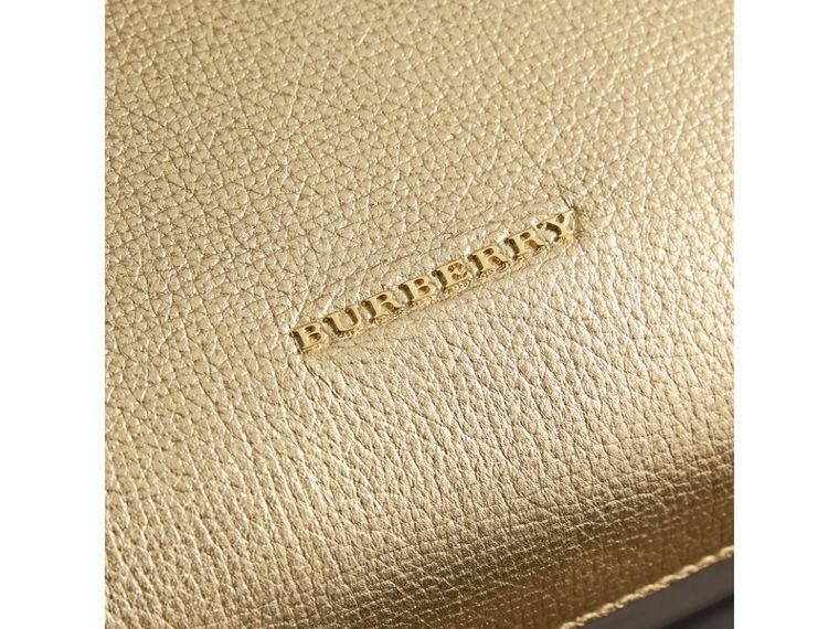 The Medium Banner in Leather and House Check in Gold - Women | Burberry United Kingdom - cell image 1