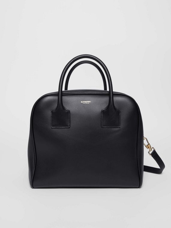 Medium Leather Cube Bag in Black