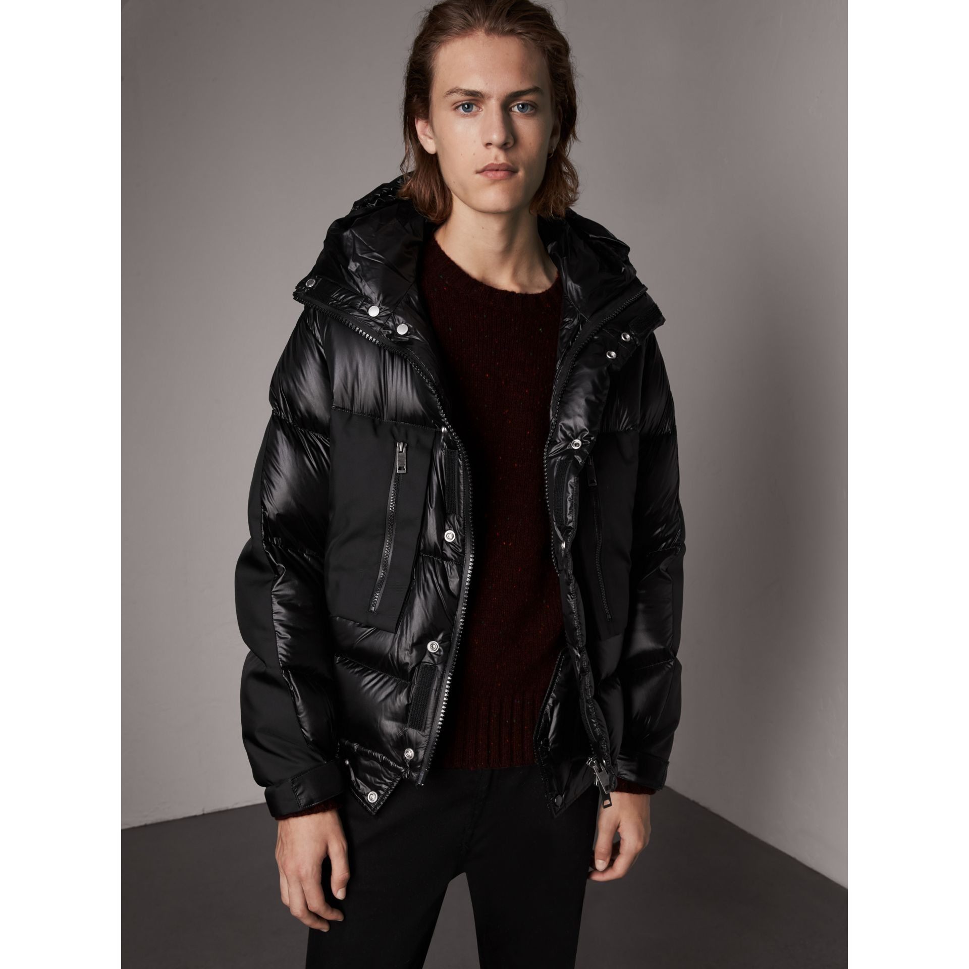 Oversized Down-filled Hooded Puffer Jacket in Black - Men | Burberry United States - gallery image 0