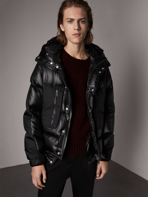 Oversized Down-filled Hooded Puffer Jacket in Black
