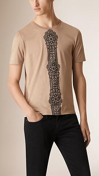 T-shirt en coton avec imprimé dentelle