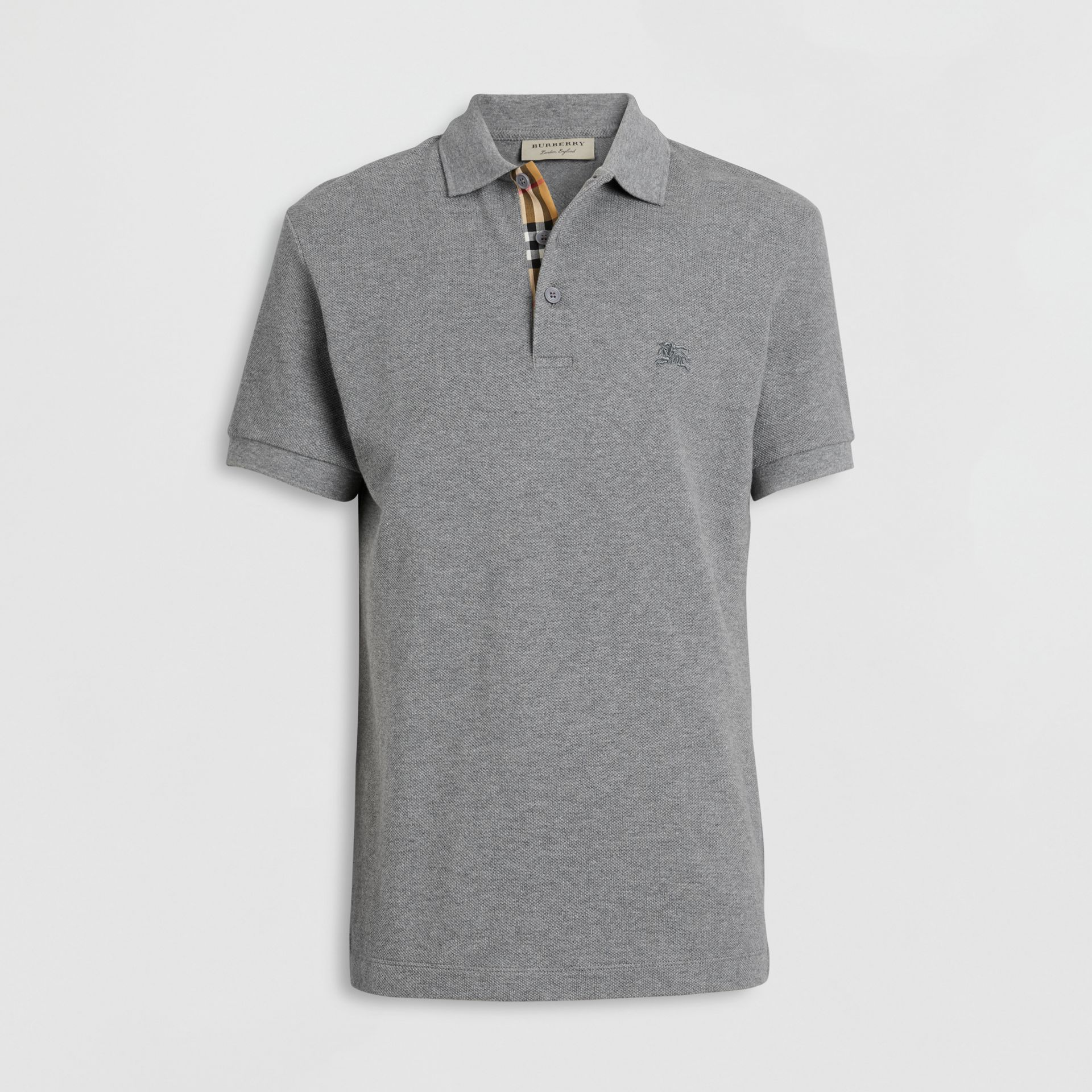 Check Placket Cotton Polo Shirt in Mid Grey Melange - Men | Burberry Singapore - gallery image 3
