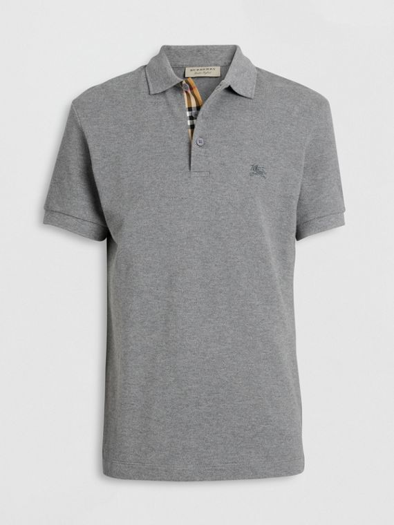 Check Placket Cotton Polo Shirt in Mid Grey Melange