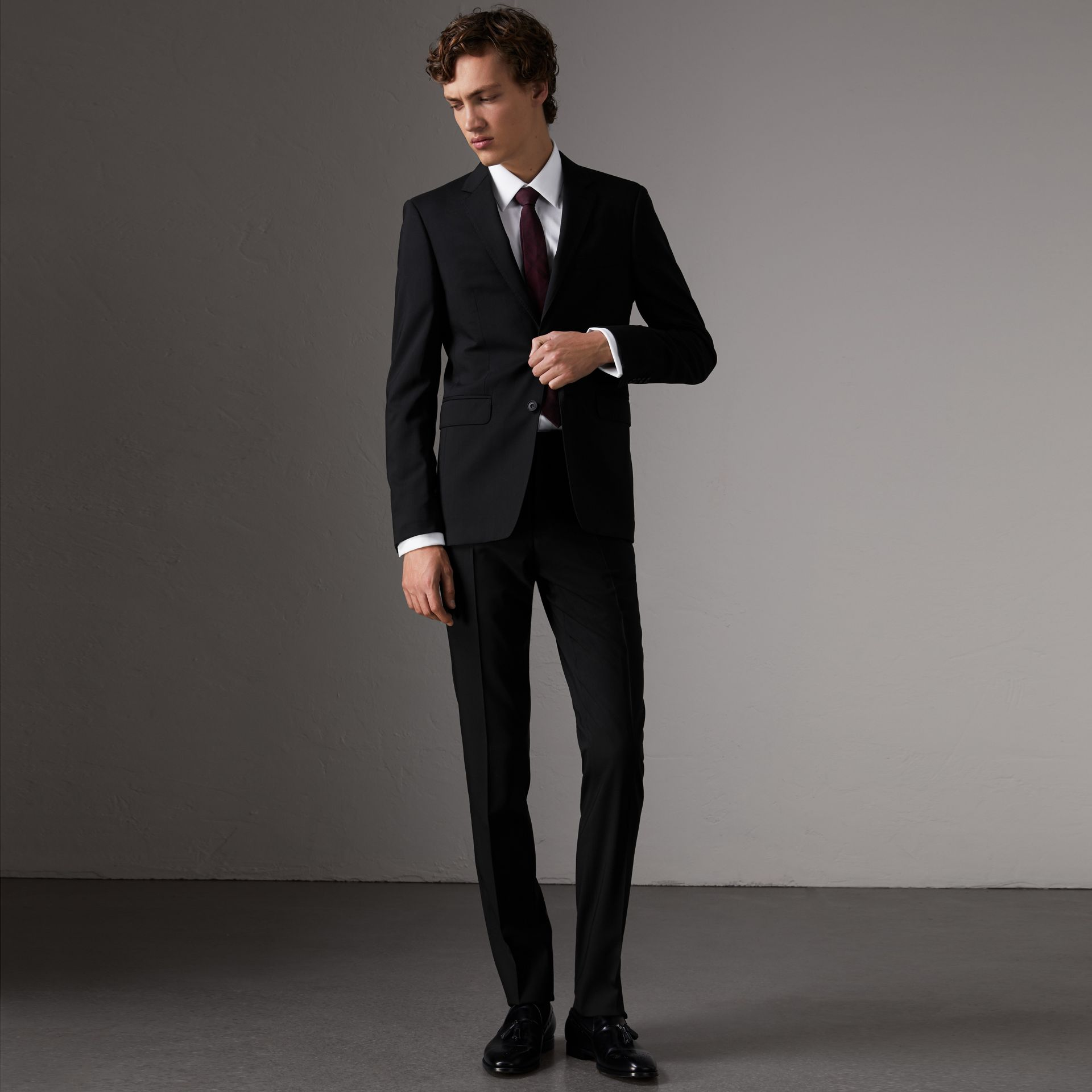 Slim Fit Wool Trousers in Black - Men | Burberry United States - gallery image 0