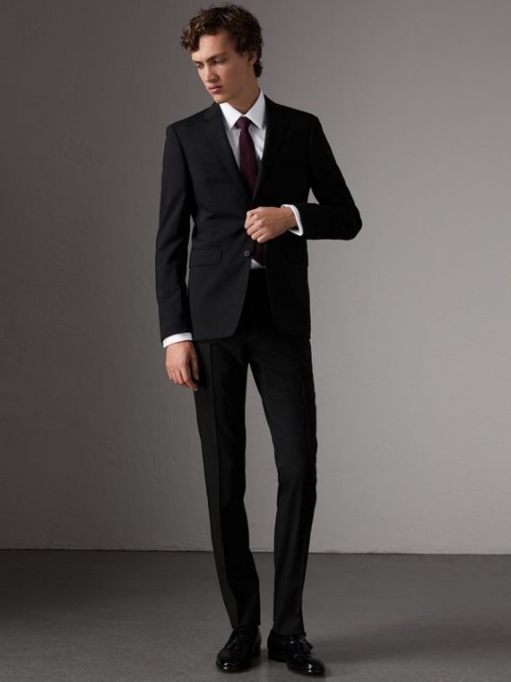 Slim Fit Wool Trousers in Black