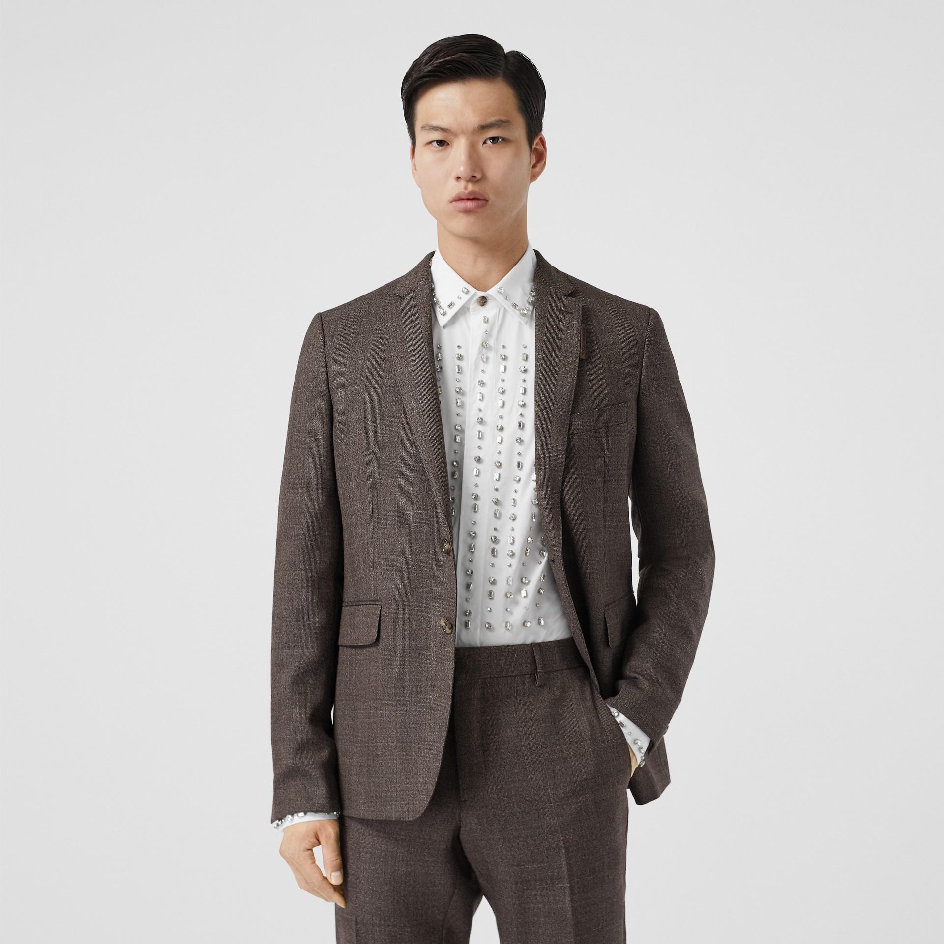Slim Fit Wool Suit in Dark Brown - Men | Burberry - gallery image 6