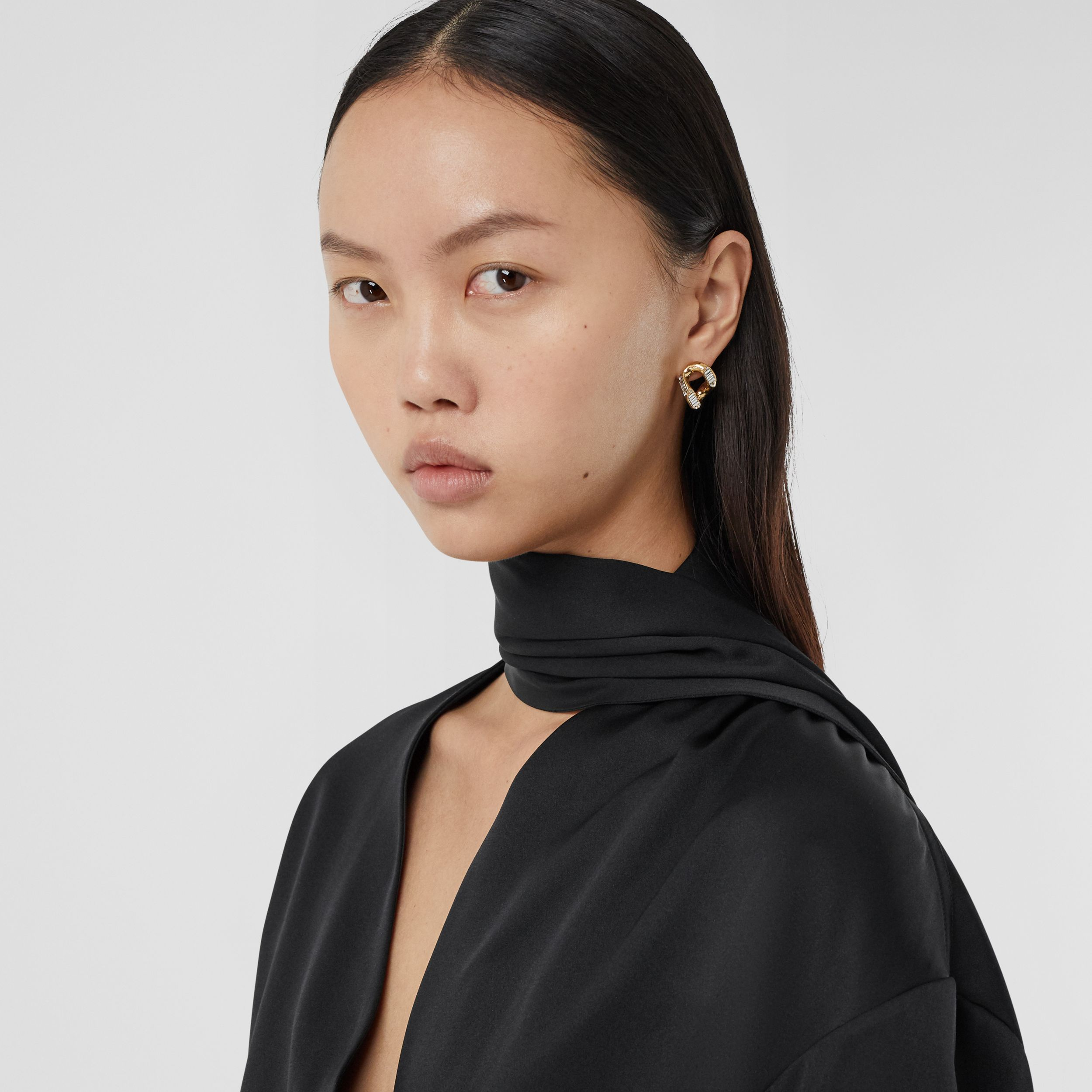 Fringed Scarf Detail Silk Satin Shirt in Black - Women | Burberry - 2