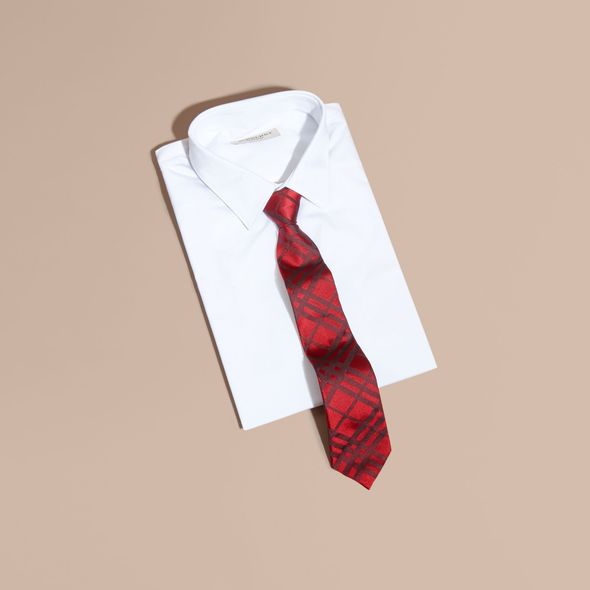 Parade red Modern Cut Check Jacquard Silk TIe Parade Red - gallery image 3