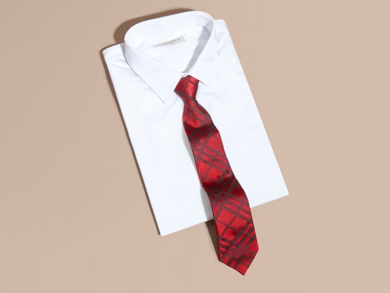 Parade red Modern Cut Check Jacquard Silk TIe Parade Red - cell image 2