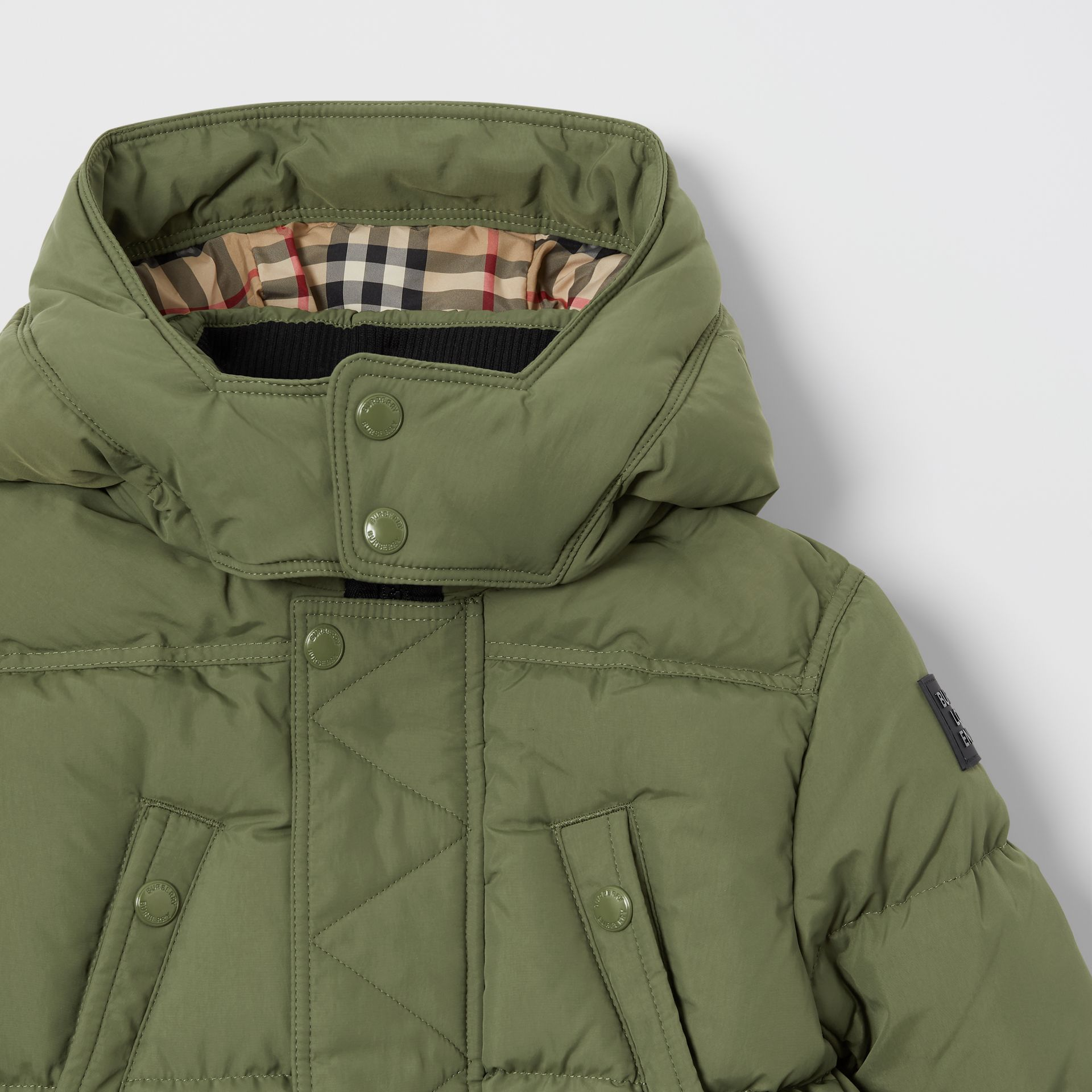 Detachable Hood Down-filled Puffer Coat in Poplar Green | Burberry - gallery image 4