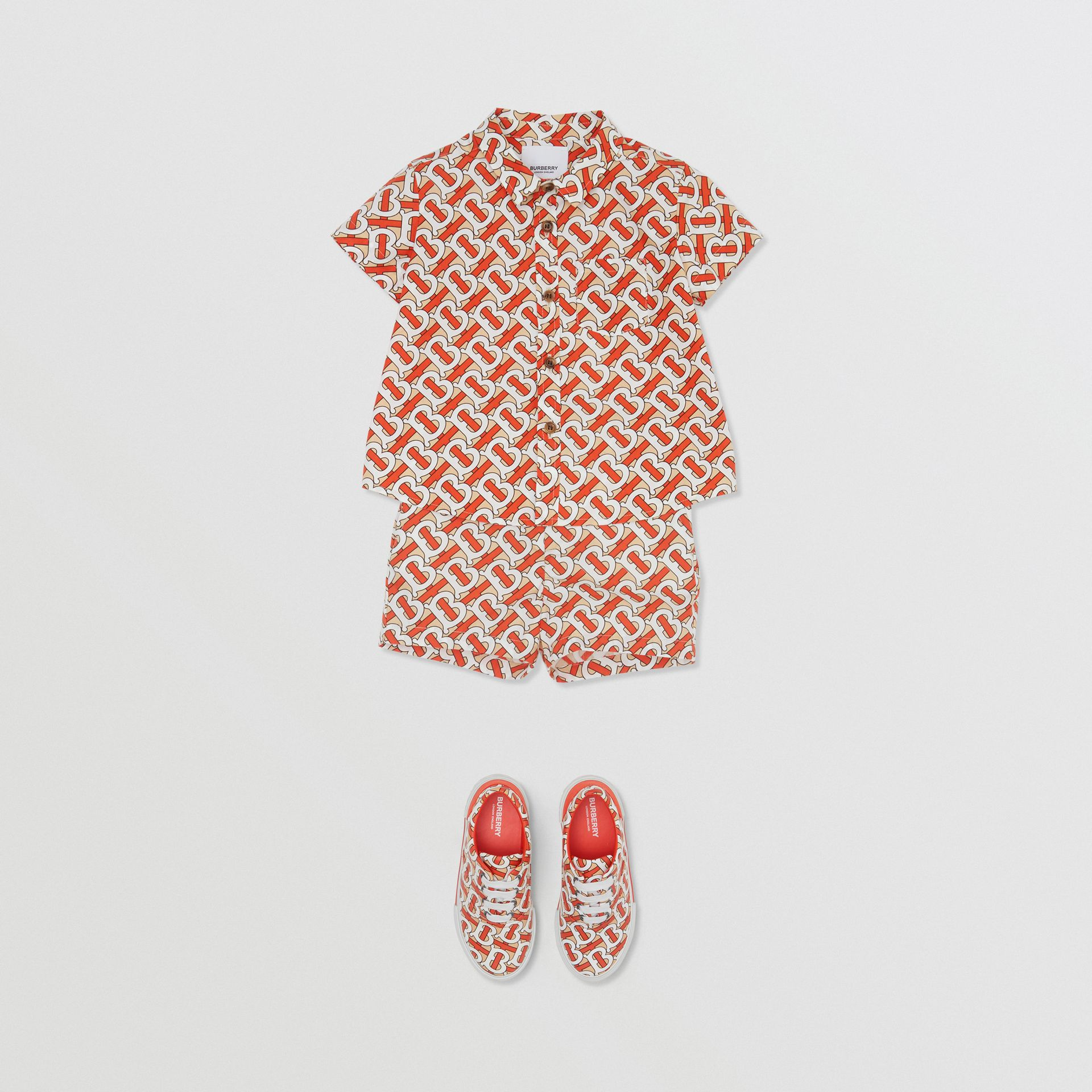 Short-sleeve Monogram Print Cotton Poplin Shirt in Vermilion Red - Children | Burberry - gallery image 2