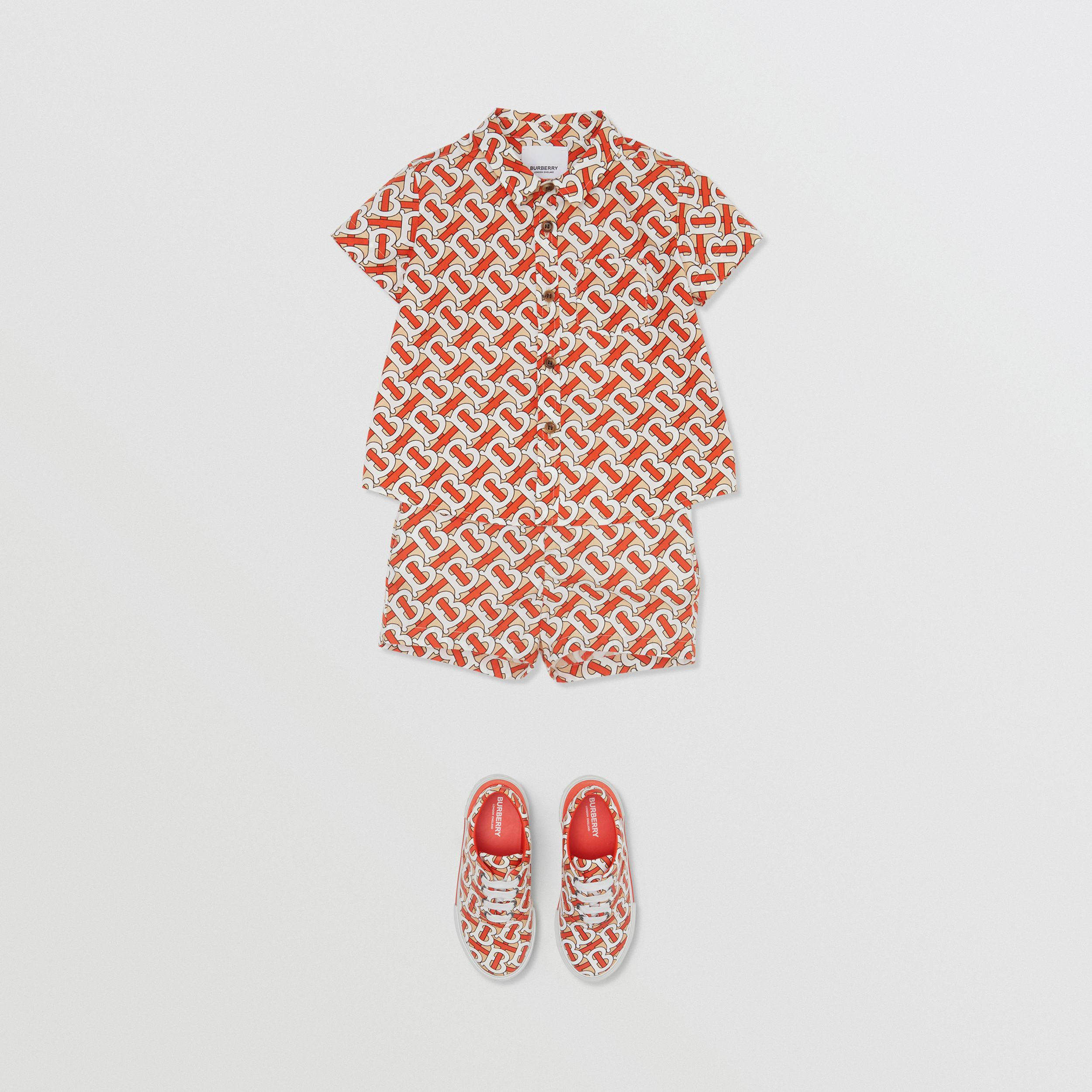 Short-sleeve Monogram Print Cotton Poplin Shirt in Vermilion Red - Children | Burberry - 3