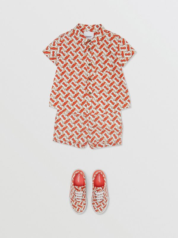 Short-sleeve Monogram Print Cotton Poplin Shirt in Vermilion Red - Children | Burberry - cell image 2