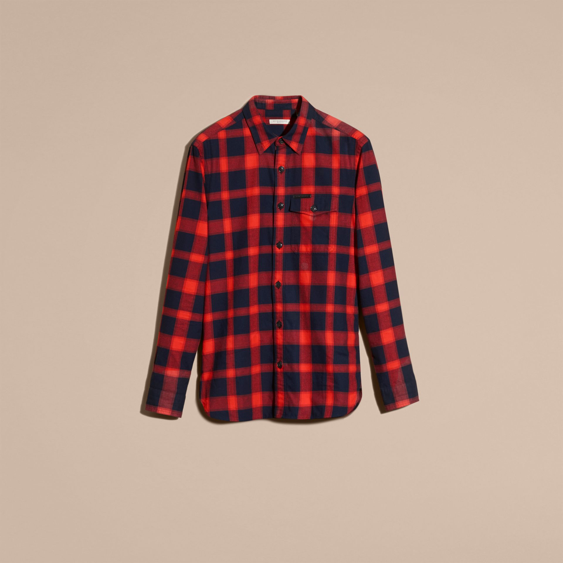 Parade red Buffalo Check Cotton Flannel Shirt Parade Red - gallery image 4