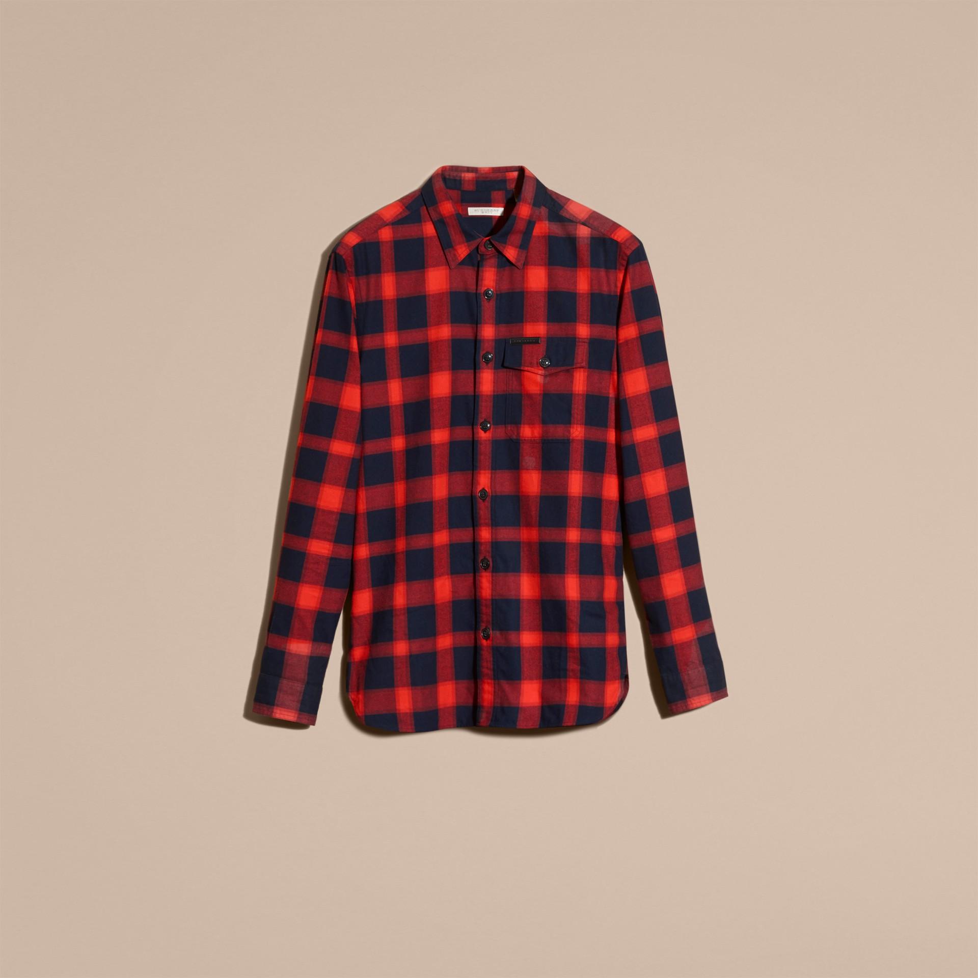 Rosso parata Camicia in flanella di cotone a quadri Rosso Parata - immagine della galleria 4
