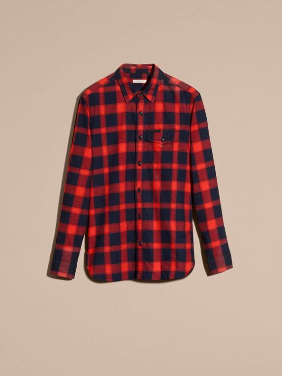 Parade red Buffalo Check Cotton Flannel Shirt Parade Red - cell image 3
