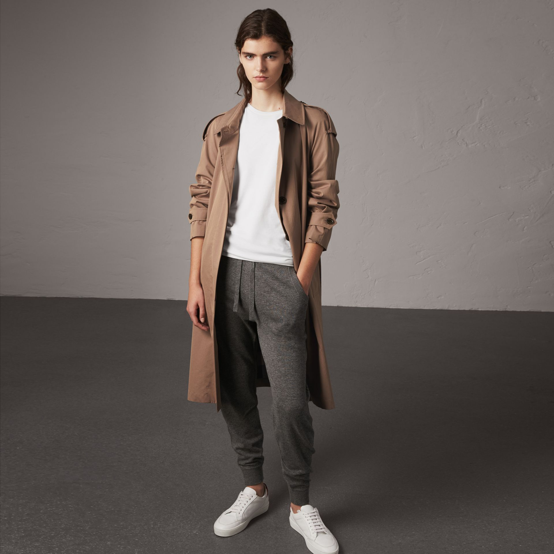 Check Detail Wool Cashmere Sweatpants in Mid Grey Melange - Women | Burberry - gallery image 0
