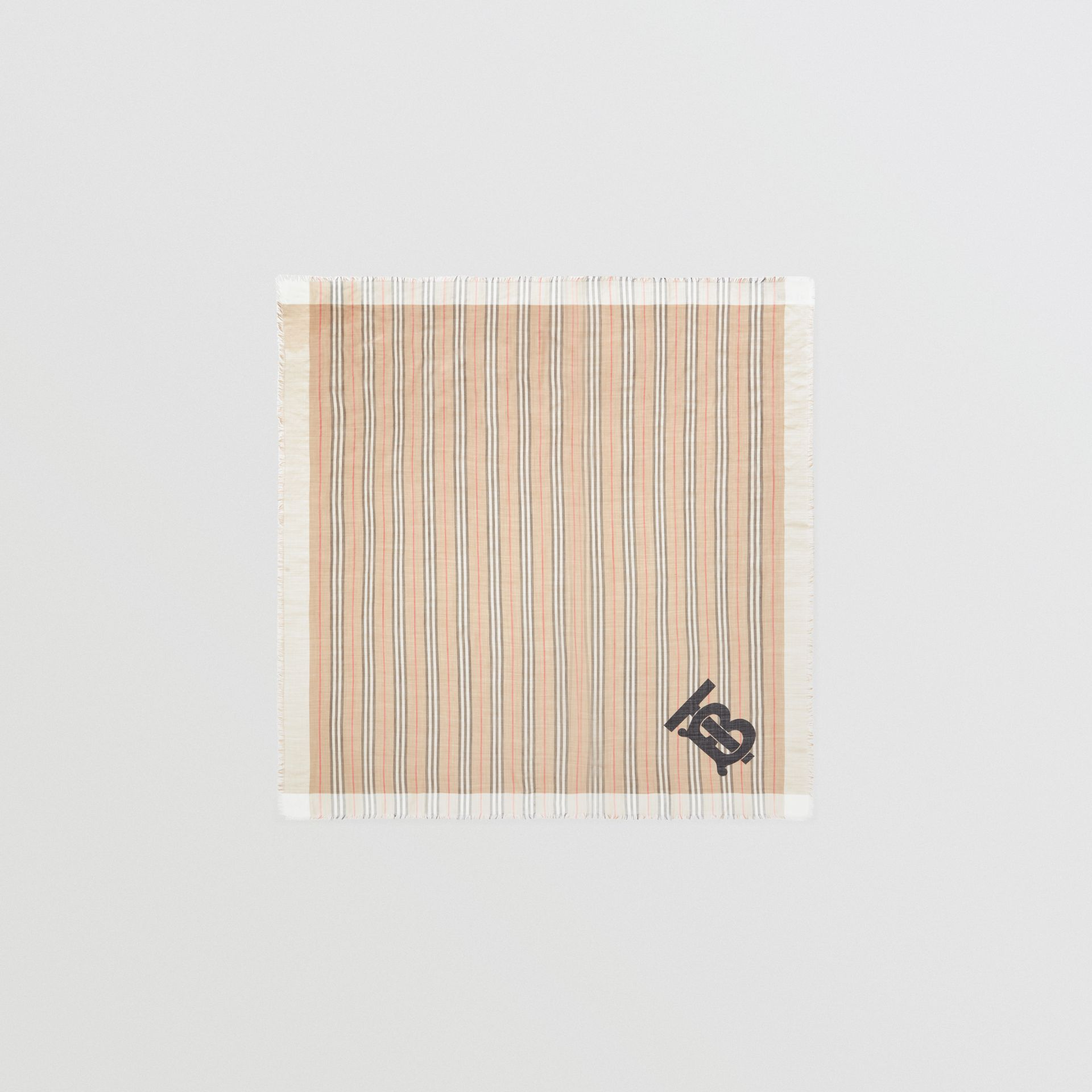 Monogram Icon Stripe Wool Silk Large Square Scarf in Archive Beige | Burberry - gallery image 0