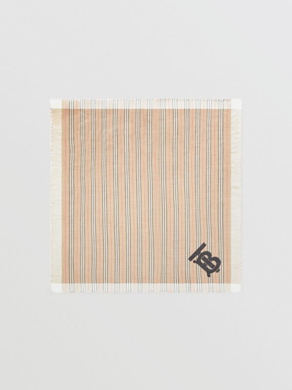 Pañuelo cuadrado grande en lana y seda a rayas Icon Stripe con monograma (Beige Vintage)