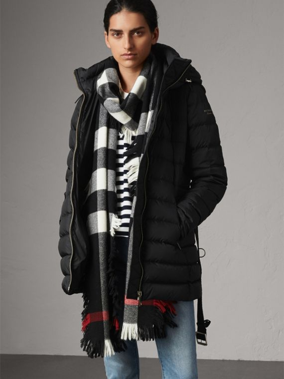 Hooded Down-filled Puffer Jacket in Black