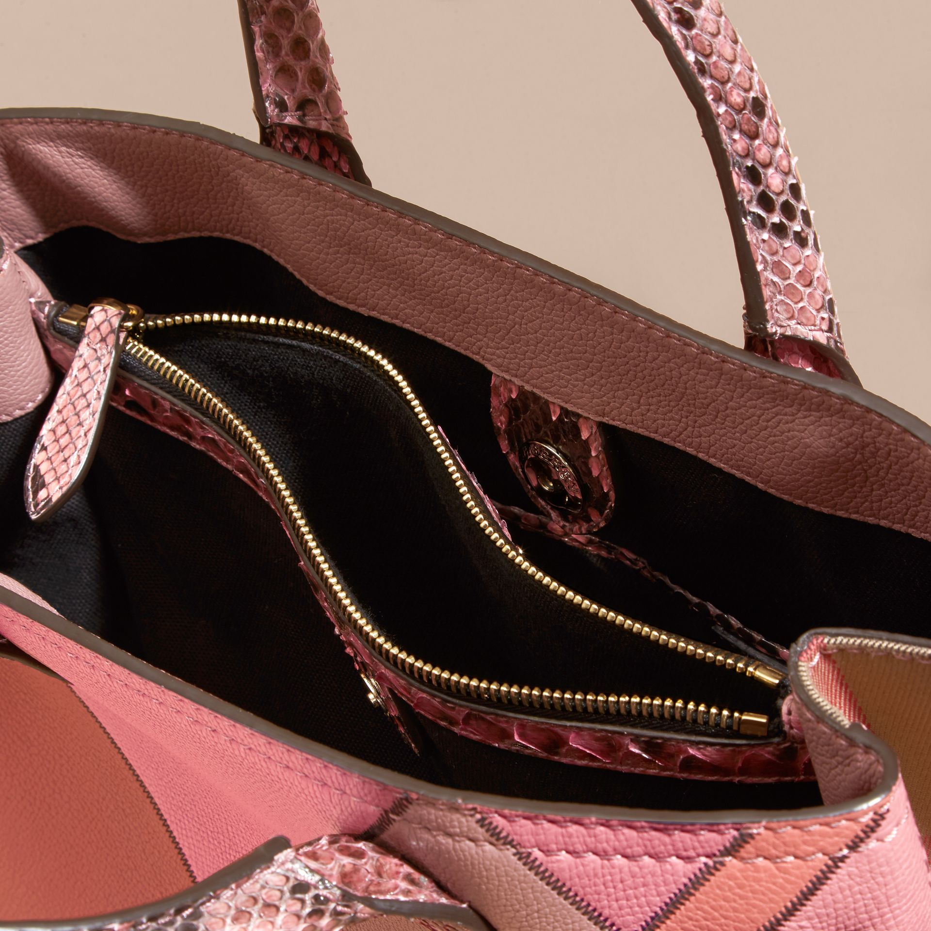 The Medium Banner in Patchwork Leather and Python in Dusty Pink - Women | Burberry - gallery image 4
