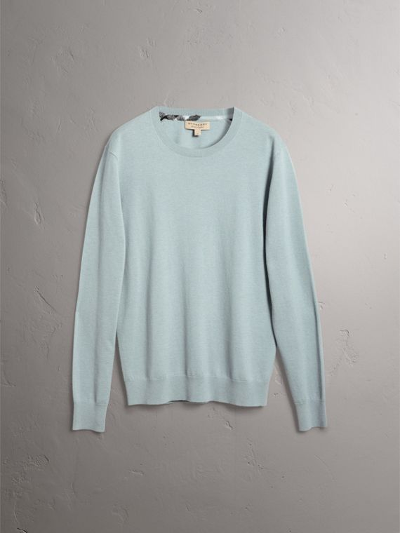 Check Jacquard Detail Cashmere Sweater in Grey Blue