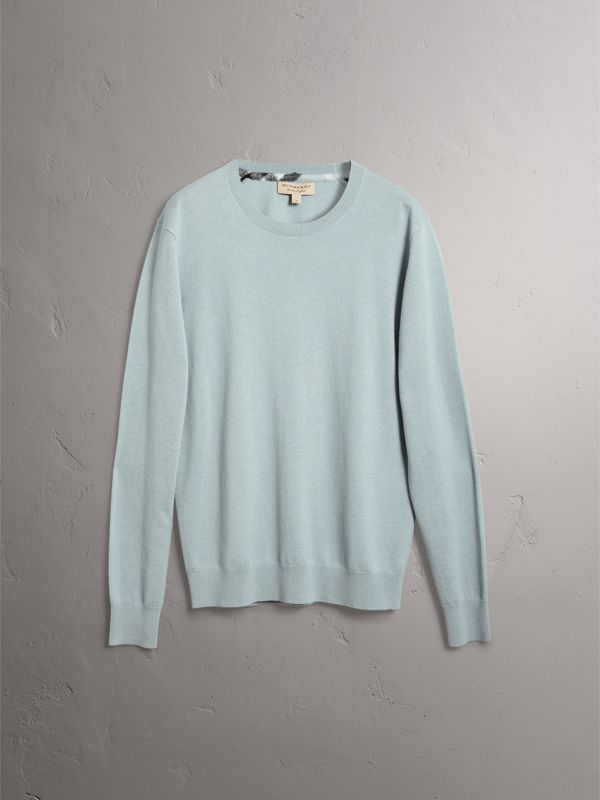 Check Jacquard Detail Cashmere Sweater in Grey Blue - Men | Burberry - cell image 3