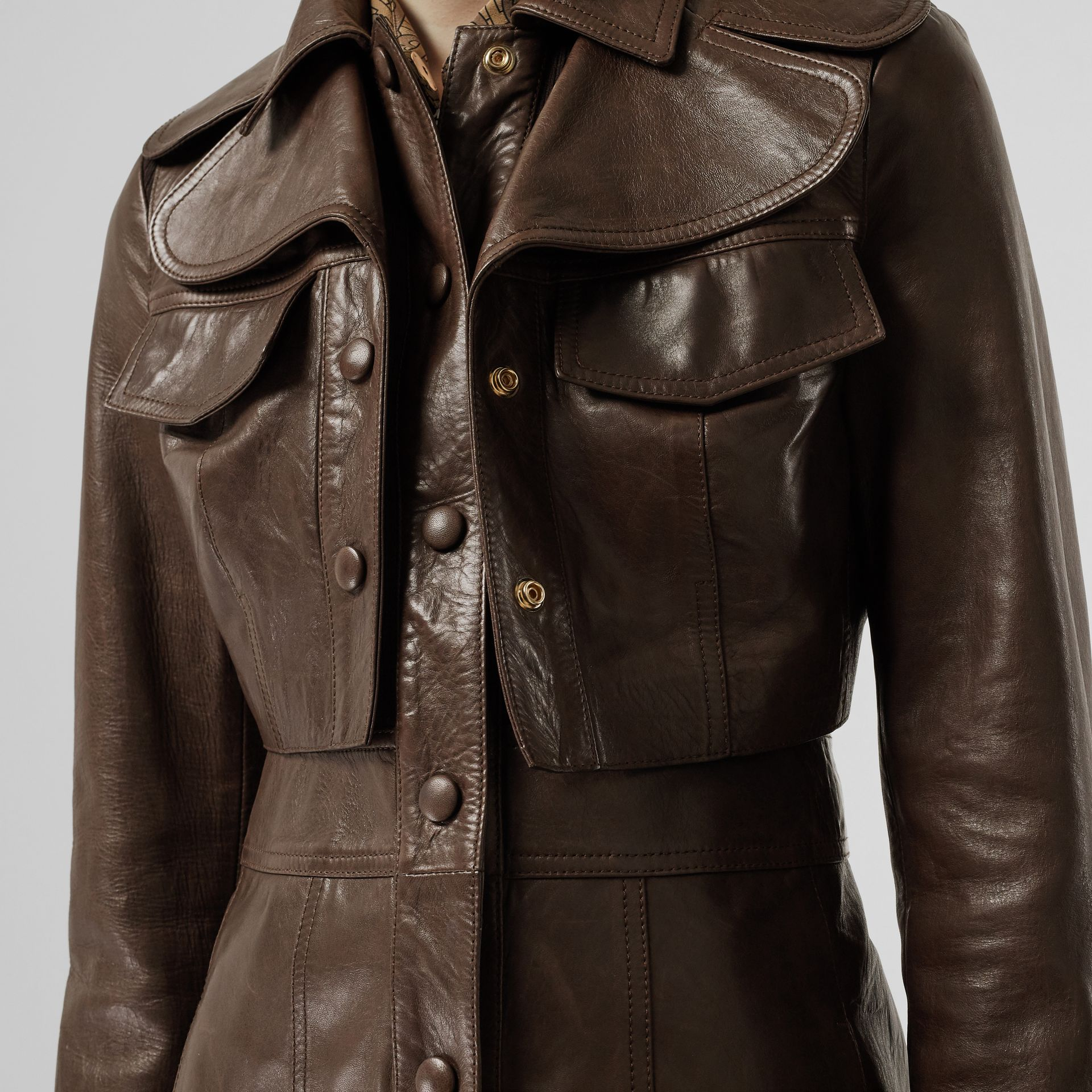 Lambskin Coat with Detachable Cropped Gilet in Dark Brown - Women | Burberry United States - gallery image 1