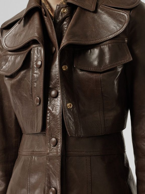 Lambskin Coat with Detachable Cropped Gilet in Dark Brown - Women | Burberry - cell image 1