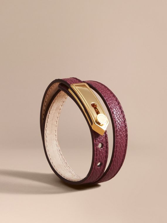 Epaulette Plaque Leather Bracelet Dark Plum