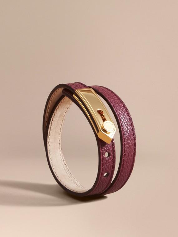 Bracelet double tour en cuir Prune Foncé